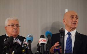 Olmert and Abbas Meet in New York, Urge Direct Talks as Trump Plan Rejected
