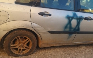 PALESTINIAN CARS DAUBED WITH JEWISH STARS, HEBREW SLOGAN IN APPARENT HATE CRIME