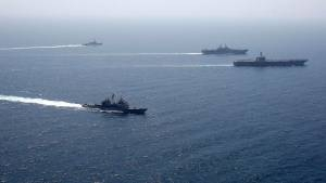 LARGE U.S. WARSHIPS TRAIN TOGETHER IN ARABIAN SEA WITH EYE ON IRAN THREATS, NAVY SAYS