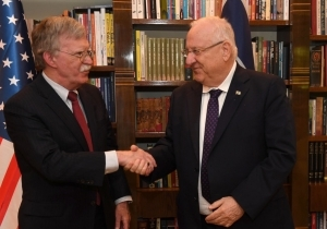 BOLTON LANDS IN TEL AVIV, WARNS ASSAD AGAINST CHEMICAL WEAPONS USE